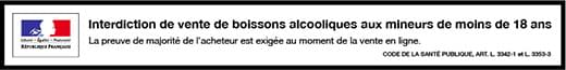 Bandeau d'avertissement vente d'alcool mineurs